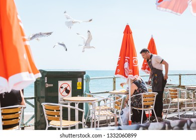 BRIGHTON / UK - June 22, 2018: seagulls attacking people on the terrace