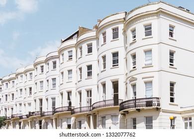 BRIGHTON / UK - June 22, 2018: Typical regency architecture in Brighton seaside resort