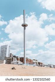 BRIGHTON / UK - June 22, 2018: British Airways i360 on Brighton beach