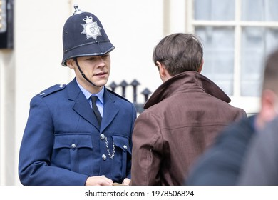BRIGHTON, UK - May 10: Harry Styles is spotted filming scenes for movie My Policeman in Brighton on the May 10, 2021 in Brighton, UK
