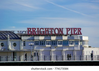 Brighton, UK - November 2017: Brighton Pier Sign