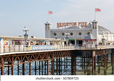 Brighton, UK - September 13, 2016 - The Brighton Pier and the crowd