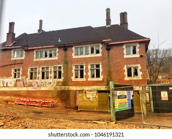Brighton UK,March 2018: an old army barrack building on Lewes Road near University of Brighton Moulsecoomb site being demolished for new development