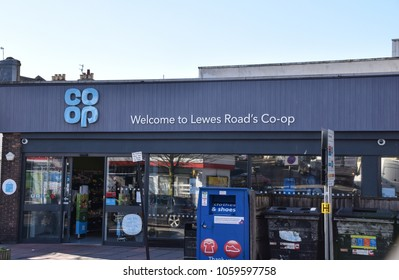 Brighton, United Kingdom - March 28 2018:   The frontage of Co-Op supermarket on Lewes Road