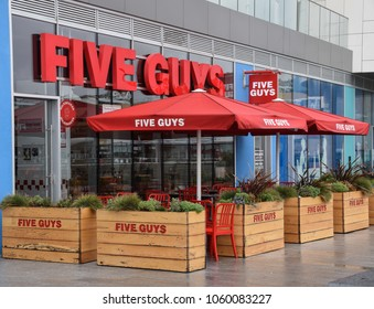 Brighton, United Kingdom - March 28 2018:   Frontage of Five Guys Restaurant at Brighton Marina