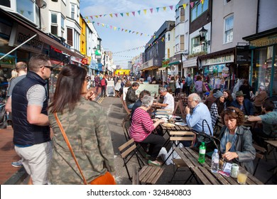 BRIGHTON, UNITED KINGDOM - OCTOBER 03 2015. Brighton's famous North Laines shopping lanes with over 400 independent shops attracting tourists from around the world
