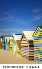 BRIGHTON-AUSTRALIA October 28, 2016:  Colourful  boxes at Brighton beach in Victoria, Australia