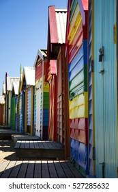 BRIGHTON-AUSTRALIA October 28, 2016: Colourful boxes in a row at Brighton beach in Victoria, Australia