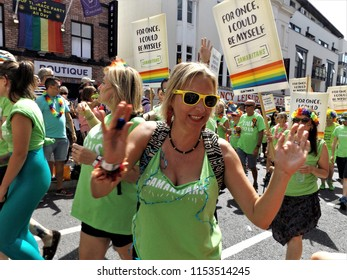 Brighton,East Sussex/UK 08-04-18 Brighton Pride Parade 2018 in West Street. The Samaritans join in the fun