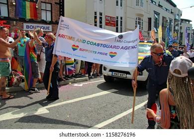 Brighton,East Sussex/UK 08-04-18 The representatives of the Maritime and Coastguard agency (HM Coastguard) joining in Brighton's Pride Parade 2018