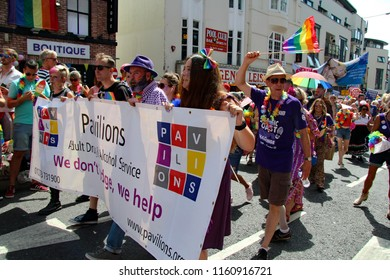 Brighton,East Sussex/UK 08-04-18 Staff of Pavilions , the adult drug and alcohol service, walking in the Brighton Pride parade 2018