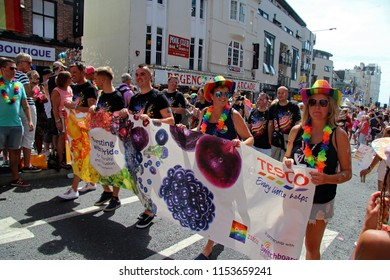 Brighton,East Sussex/UK 08-04-18 The team from Tesco marching in Brighton's spectacular Pride parade 2018 as it went up West Street in the city centre