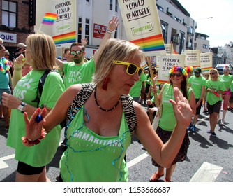 Brighton,East Sussex/UK 08-04-18 Volunteers and the team from The Samaritans marching in Brighton's spectacular Pride parade 2018 as it went up West Street in the city centre