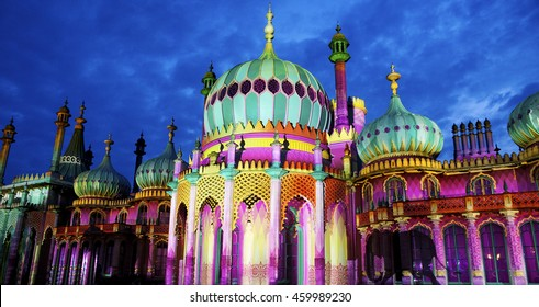 Brighton's Royal Pavilion, Brighton Festival, 2016, U.K. Brighton's famous Royal Pavilion is lit up with multicolored projections and shadows of moving elephants during the Dr Blighty festival show.