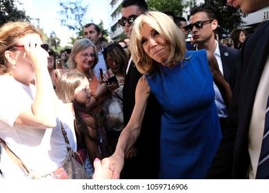 Brigitte Macron walks on main commercial Ermou street in Athens, Greece September 8, 2017.