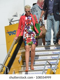 Brigitte Nielsen arrives on the Life Ball 2012 Jet. May 18, 2012, Vienna, Austria. Picture: Catchlight Media / Featureflash