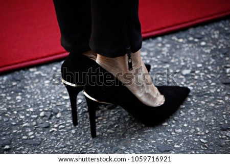 73b05f91ada8 Brigitte Macron s shoes during a review of the presidental guard during an  official welcoming ceremony in