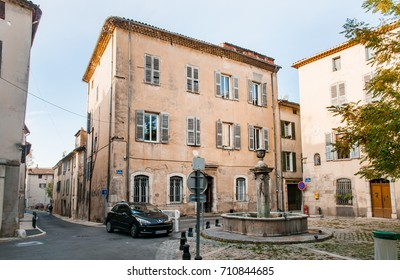 Brignoles, France - October 09, 2009:  View of the Jean Raynaud Square in the town of Brignoles in Provence, south of France