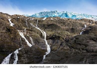 Briksdal glacier, waterfall, Olden, Norway