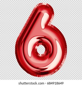 Brilliant balloon font number 6 made of realistic 3d helium red balloon with Clipping Path ready to use. For your balloon number collection design Birthday Anniversary,New year,Holiday, Any occasional