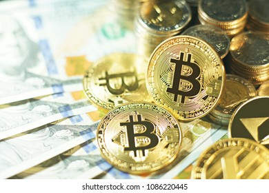 Brilliant bitcoin stack and other coin pile on US dollar bill background, bitcoin concept
