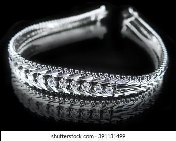 Brilliant bracelet, isolated on black.
