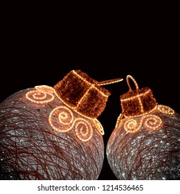 BRILLIANT CHRISTMAS BALL WITH LIGHTS ON BLACK BACKGROUND