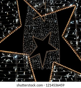 BRILLIANT CHRISTMAS STAR WITH LIGHTS ON BLACK BACKGROUND