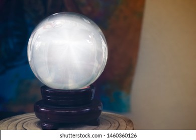 Brilliant crystal ball used by gypsies, mediums or sorcerers to see the future, clairvoyance, divination, psychic readings and holistic mental therapy.