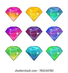 Brilliant diamonds in different colors. cartoon set for game design. Set of gemstone design illustration