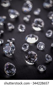 Brilliant diamonds on black background