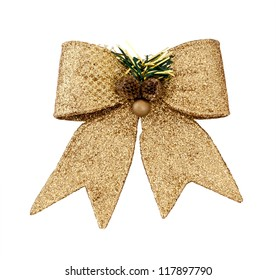 Brilliant gold bow - a Christmas ornament.isolated