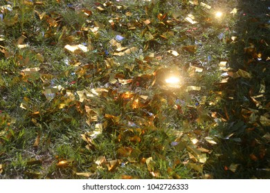 Brilliant golden confetti is scattered over the green grass. Festive summer and autumn background