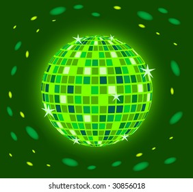 Brilliant green sphere on a dark background with patches of light