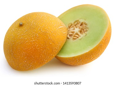 Brilliant honeydew melon over white background