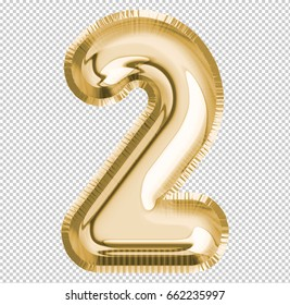 Brilliant Number two ; 2 letter alphabet made of realistic 3d Gold helium balloon with Clipping Path ready to use. Illustration of balloon number collection for your design project decoration element.