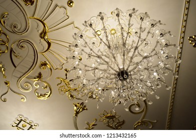 Brilliant old vintage antique beautiful classical palace beautiful luxury crystal glass expensive chandelier.