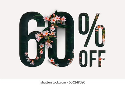 Brilliant Promotion sale poster, banner, ads 60% off discount. Precious Paper cut with real flowers and leaves. For your unique selling poster / banner promotion offer percent discount ads.
