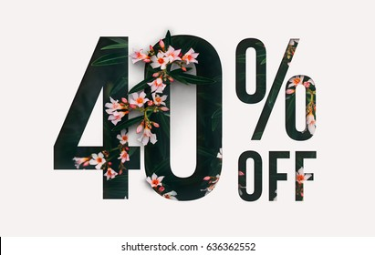 Brilliant Promotion sale poster, banner, ads 40% off discount. Precious Paper cut with flowers and leaves. For your unique selling poster / banner promotion offer percent discount ads.