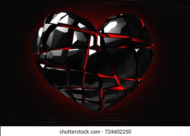 Brilliant ruby on black background. Black Crystal. St. Valentine's Day 3D rendering