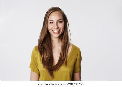 Brilliant smile on beautiful brunette, portrait