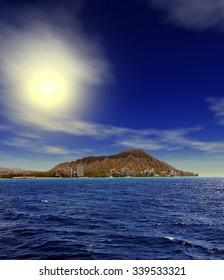 Brilliant Sunrise over Diamondhead Honolulu Hawaii USA