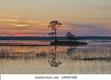 A brilliant sunset over the Atlantic Intracoastal Waterway from Hunting Island, South Carolina.