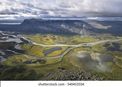 Brilliant view from Skierfe on rapadalen river valley table mountain Tjakkali, delta landscape Sweden