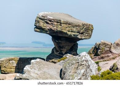 Brimham rocks a sedimentary rock formation in Nidderdale Yorkshire England.