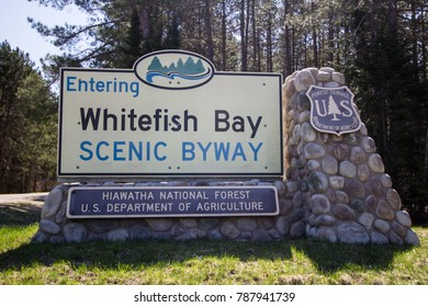 Brimley, Michigan, USA - May 7, 2016: Entrance sign to the Whitefish Bay National Scenic Byway in the Hiawatha National Forest in Michigan. The Byway parallels the rugged Lake Superior coast.