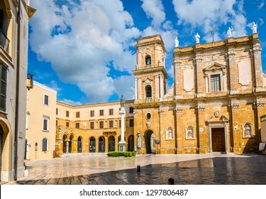 The Brindisi Duomo Cathedral and bell tower on the Piazza Duomo in the Coastal city of Brindisi Italy, in the Puglia Region