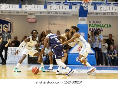 Brindisi, Italy, October 05 2019 j. brown , happy casa brindisi, marca d. lansdowne , germani basket brescia, with alle spalle a. banks  during Happy Casa Brindisi Vs Germani Basket Brescia  Italian
