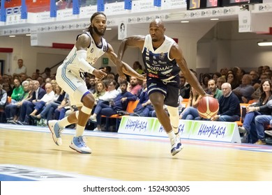 Brindisi, Italy, October 05 2019 ball a d. lansdowne , germani basket brescia, thwarted from  a. banks , happy casa brindisi,  during Happy Casa Brindisi Vs Germani Basket Brescia  Italian Basketball