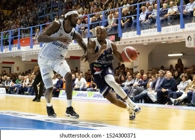 Brindisi, Italy, October 05 2019 palleggio in action per d. lansdowne , germani basket brescia, thwarted from  t. stone , happy casa brindisi,  during Happy Casa Brindisi Vs Germani Basket Brescia  I